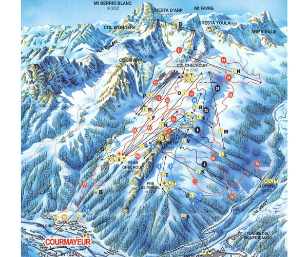 Courmayeur Ski Maps and Piste Maps in Aosta Valley