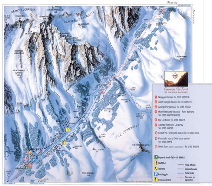 Courmayeur Cross Country Ski Maps Val Ferret
