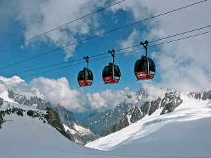 The cable car that traverses to France and the Aiguille du Midi