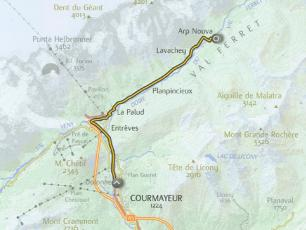 Courmayeur Ciclotour track - from Courmayeur to Val Ferret