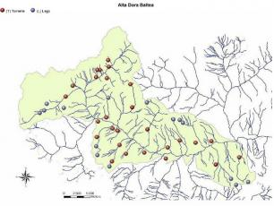 The map with the lakes and rivers for fishing in Courmayeur