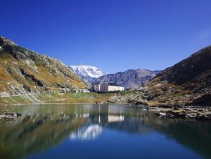 The lake at Col du Grand Saint Bernard, Aosta Valley, Italy