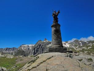 The Saint Bernard at the col, Aosta Valley, Italy