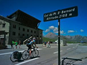 Cycling Race on Col du Petit Saint Bernard