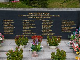 Mont Blanc Tunnel Homage to the victims in 1999