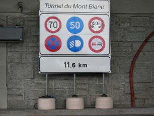Mont Blanc Tunnel Sign - Safety Rules and Restrictions